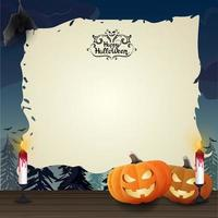 Halloween parchment with pumpkins and candles vector