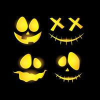 Scary and funny glowing halloween pumpkin face set