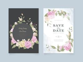 Wedding save the date with circular rose frame