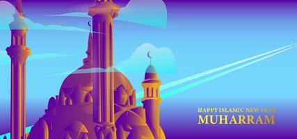 Happy Islamic new year design with towers on mountain