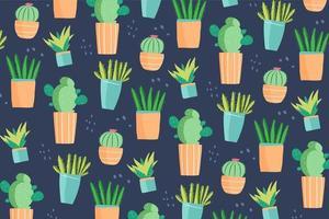 lindo dibujado a mano doodle cactus pattern vector