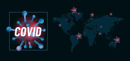 mapa mundial con diseño de celdas covid 19 vector