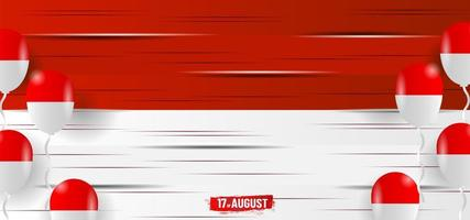 Red and white wood with balloons for Indonesia Independence day vector