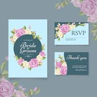 Blue floral save the date and rsvp wedding set