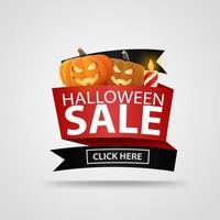 banner de venta de halloween con linternas y velas