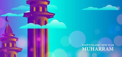 Happy Islamic new year design with tower