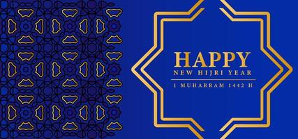 Yellow and blue pattern Happy Muharram design