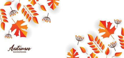 Beautiful autumn design with leaves and branches