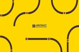 Brown abstract curved lines on yellow vector