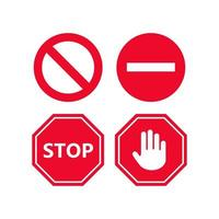 Stop sign icon set vector