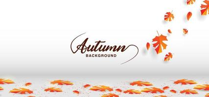 Autumn leaves falling on floor vector