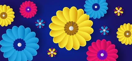 Colorful realistic 3d flower pattern vector