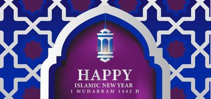 Happy Muharram ornamental blue and purple holiday design