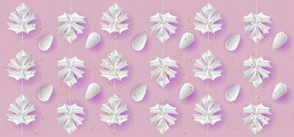 White gradient leaves on pink with purple shadows