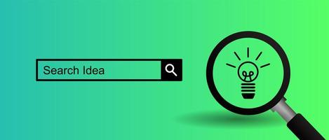 Magnifying glass and search bar on gradient green vector