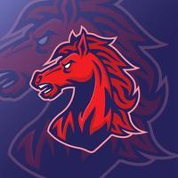 Red horse head mascot design vector