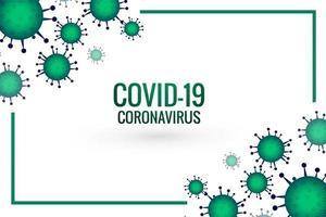 Green Coronavirus outbreak cell and frame design vector