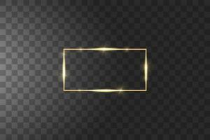 Golden frame with light effects vector