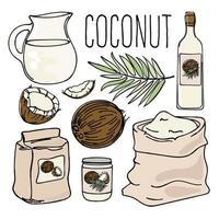 conjunto de dieta paleo vegetariana de coco vector