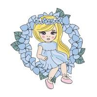 Spring Girl in Blue Wreath  vector