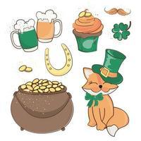 Fox Treasure Saint Patrick Day Cartoon Set vector