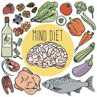 Healthy Brain Mind Diet Nutrition Set vector