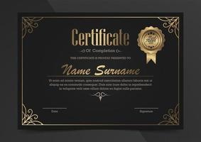 certificado de lujo negro y dorado