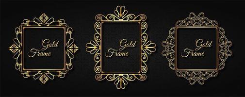 conjunto de marco de invitación de oro de lujo