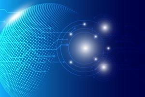 Glowing blue halftone dot technology design vector