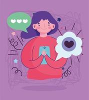 mujer joven con teléfono inteligente discurso burbuja amor mensaje romántico