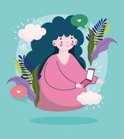 mujer joven con teléfono inteligente amor discurso burbujas al aire libre