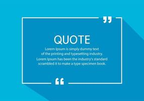 White quote box with long shadow on blue vector