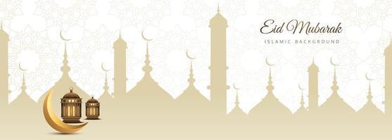 Elegant golden banner for Eid Mubarak vector