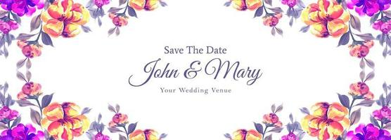 Save the date floral watercolor banner vector