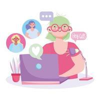 mujer joven en reunión portátil digital