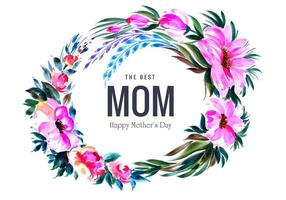 Circular flower decoration frame for mother's day vector