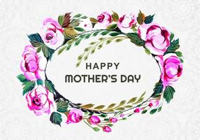 Mother's day oval flower wreath on pattern vector