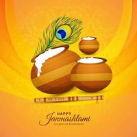 Happy Krishna Janmashtami card with three pots and feather vector