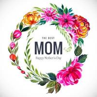 Beautiful mother's day watercolor foliage frame vector