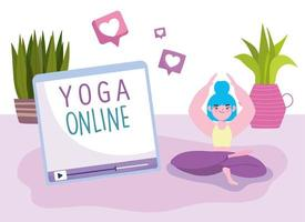 Young woman practicing yoga online in lotus pose vector