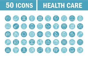 Medical and health care equipment blue circle icons