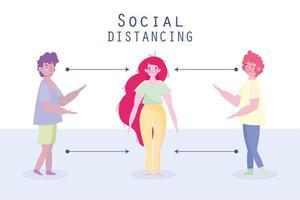 People standing apart to practice social distancing vector