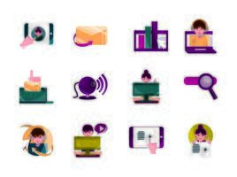 Cnline activities, digital connection icon set vector