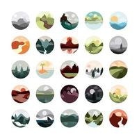 conjunto de ícones circulares de paisagem vetor