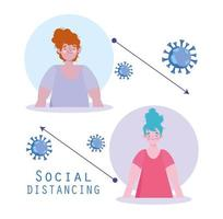 Coronavirus social distancing poster with two women