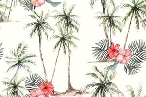 Coconut tree watercolor seamless pattern vector