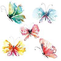 mariposas pintadas con acuarelas vector