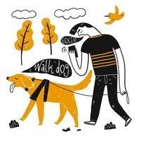 um homem passeando com cachorro vetor
