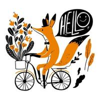 Cute fox riding a bike saying hello vector