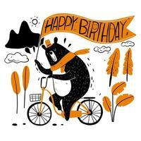 ours mignon à vélo avec bannière d'anniversaire vecteur